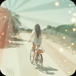 Аватар Девушка едет на велосипеде, по проселочной дороге, освещенная лучами солнца