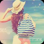 Аватар Девушка в шляпе и с сумкой-рюкзаком на плече, смотрит на море (summer / лето)