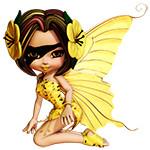 Аватар Девушка-эльф с желтыми крыльями бабочки с желтыми цветами в темных волосах, с черной повязкой на глазу