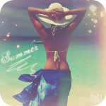 Аватар Девушка в шляпе и парео смотрит на море, заложив руки за голову (Summer / Лето)
