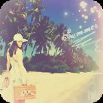 Аватар Девушка с чемоданом в руке идет по морскому берегу с растущими на нем пальмами (Summer / Лето)