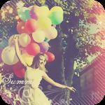 Аватар Улыбающаяся девушка с воздушными шарами в руке