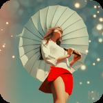 Аватар Девушка с зонтом от солнца на фоне неба и бликов-боке