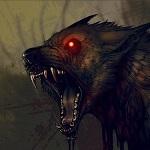 Аватар Демонический волк с красными глазами злобно рычит