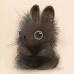 Аватар Маленький черный кролик, похожий на котенка, иллюстратор Heather Gross / Хизер Гросс