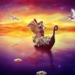 Аватар Девушка в лодке с цветами, с ромашками на воде и парящими рядом голубями