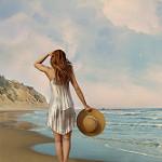 Аватар Девушка со шляпой в руке стоит у моря