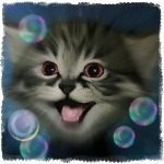 Аватар Улыбающийся серый котенок
