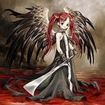 Аватар Девушка-ангел с длинными рыжими волосами в темном длинном платье с секирой в руках