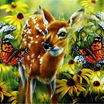 Аватар Олененок на фоне бабочек и цветов