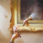 Аватар Бабочка сидит на стене рядом с картиной в старинной позолоченной раме, женщина с картины протягивает руку к нежной розе, которую держит в своей руке мужчина, стоящий перед художественным полотном, by Valentin Rekunenko / Валентин Рекуненко