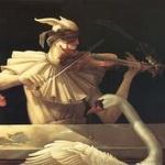 Аватар Мужчина со скрипкой и лебедь перед ним, художник Майкл Паркес