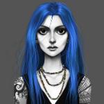 Аватар Девушка с синими волосами, by BlackBirdInk