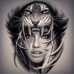 Аватар Девушка с рисунком вокруг глаза, в головном уборе в виде головы тигра, с перьями