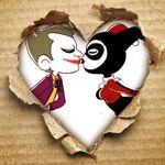 Аватар В белом сердечке на рваном картоне, целуются мужчина и девушка в одежде шута