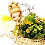 Аватар Девушка-эльф рядом с корзиной цветов