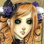 Аватар Девушка с рыжими волосами, зелеными глазами в черной шляпке с сиреневой розой на фоне черепа