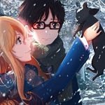 Аватар Косэй Арима / Kousei Arima и Каори Миязоно / Kaori Miyazono с черным котенком под снегопадом, из аниме Твоя апрельская ложь / Shigatsu wa Kimi no Uso