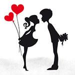 Аватар Девушка с воздушными шариками в форме сердечек и парень с букетом цветов за спиной