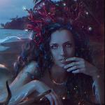 Аватар Девушка - русалка с синими волосами держит руку у лица, by Nikulina-Helena
