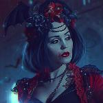 Аватар Countess Bathory / графиня Батори с кровью на лице и летучей мышью в волосах, by Nikulina-Helena