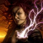 Аватар Девушка с развивающимися волосами держит в руке молнию, художник Marek Okon