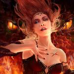 Аватар Девушка - ведьма с рыжими волосами держит руку на груди