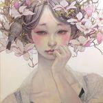 Аватар Нежная девушка с весенними цветами и птицей в волосах, by Miho Hirano / Михо Хирано