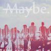 Аватар Надпись Maybe. с зачеркнутой May на фоне неба, над силуэтами людей и города