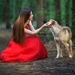 Аватар Девушка в красном платье сидит рядом с собакой
