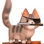 Аватар Котенок с ножом и повязкой на глазе