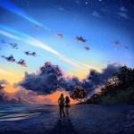 Аватар Парень с девушкой гуляют по побережью, by pin100