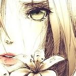 Аватар Девушка плача смотрит рядом с цветочком
