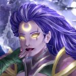 Аватар Эльфийка с фиолетовыми волосами и светящимся полумесяцем во лбу, арт на игру World of Warcraft