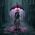 Аватар Девушка идет по улице с зонтом