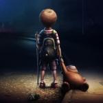 Аватар Мальчик стоит на дороге с плюшевым мишкой в руке и смотрит вдаль