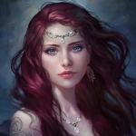 Аватар Красивая девушка с украшениями и тату на темном фоне