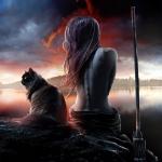 Аватар Девушка сидит на краю скалы, рядом сидит кот и стоит копье
