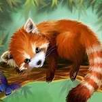 Аватар Красная панда лежит на ветке и рядом голубая бабочка, by Evolvana