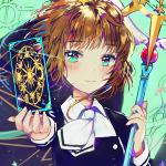 Аватар Kinomoto Sakura / Киномото Сакура держит в руке карту, из аниме Cardcaptor Sakura / Сакура-собирательница карт, art by Dangmill