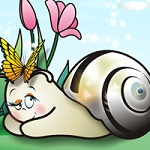 Аватар Улитка с бабочкой лежит рядом с тюльпанами