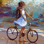 Аватар Девочка с велосипедом стоит у моря