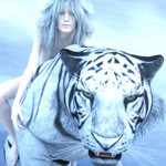 Аватар Девушка с голубыми волосами сидит на белом тигре