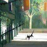 Аватар Черный котенок спускается по ступенькам
