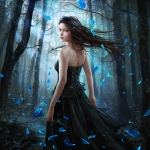 Аватар Девушка в таинственном лесу в окружении падающих лепестков
