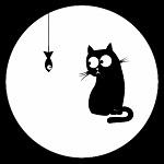 Аватар Черный кот смотрит на подвешенную за хвост рыбку