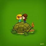 Аватар Мальчик с девочкой на черепахе