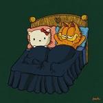 Аватар Кошечка и кот лежат на кровати