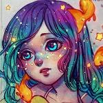 Аватар Девочка с голубыми волосами в окружении рыбок