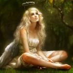 Аватар Девушка с нимбом на голове и с крыльями ангела за спиной сидит на траве